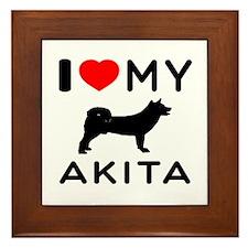 I Love My Akita Framed Tile