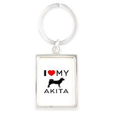 I Love My Akita Portrait Keychain