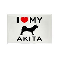 I Love My Akita Rectangle Magnet (10 pack)