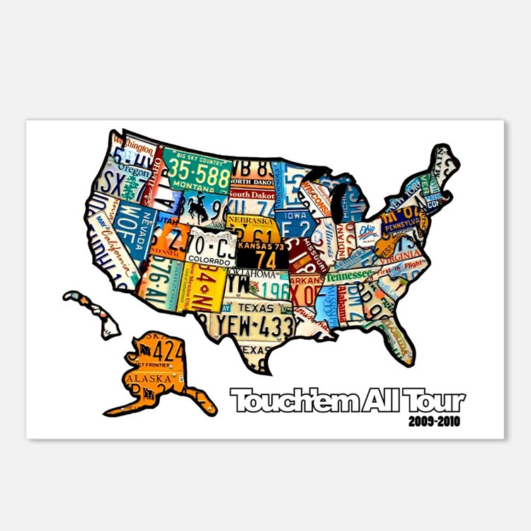 TouchemAllTee-F USMapPlat Postcards (Package of 8)