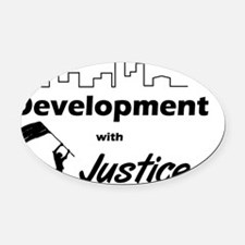 Development with Justice Logo_p01 Oval Car Magnet