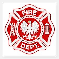 """Polish Firemen t shirt Square Car Magnet 3"""" x 3"""""""
