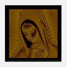 Virgen de Guadalupe - Gold Tile Coaster