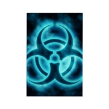 glowingBiohazard2blueJNL Rectangle Magnet