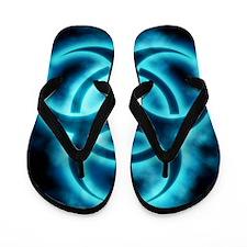 glowingBiohazard2blueJNL Flip Flops