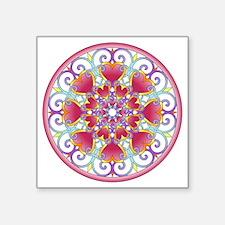 "Heart Mandala Square Sticker 3"" x 3"""