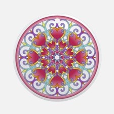 Heart Mandala Round Ornament