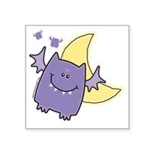 "Vampire Bat in Crescent Moo Square Sticker 3"" x 3"""