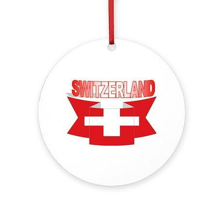 Swiss flag ribbon Ornament (Round)