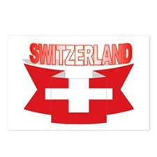 Swiss flag ribbon Postcards (Package of 8)