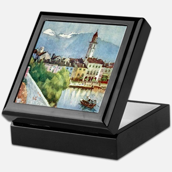 Ascona_Lake_Maggiore_Switzerland_1918 Keepsake Box