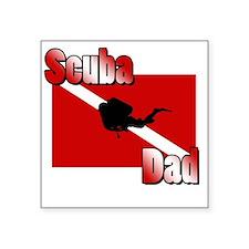"""Scuba Dad Square Sticker 3"""" x 3"""""""
