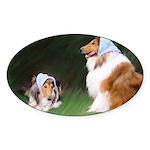 Bandana Collies Oval Sticker