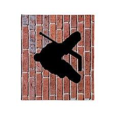 Brick Wall Hockey Goalie Throw Blanket