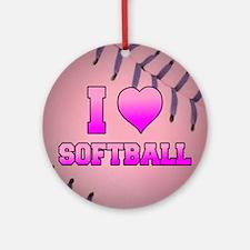 Pink I Love Softball Round Ornament
