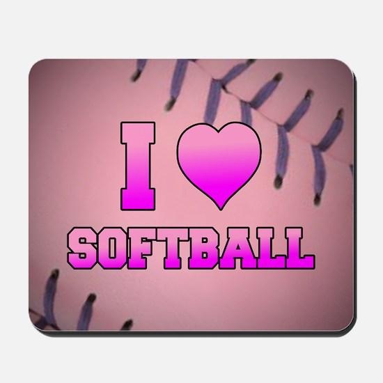 Pink I Love Softball Mousepad
