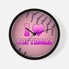 Pink I Love Softball Wall Clock