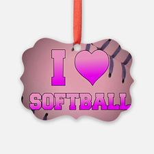 I Heart Softball Ornament