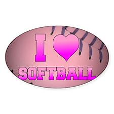I Heart Softball Decal