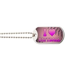 I Heart Softball Dog Tags