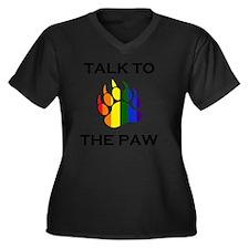 Talk to the  Women's Plus Size Dark V-Neck T-Shirt