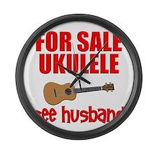 funny ukulele uke Large Wall Clock
