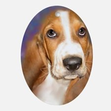 Cute Basset hound puppy Oval Ornament