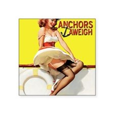 "anchors aweigh yellow Square Sticker 3"" x 3"""