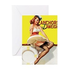 anchors aweigh yellow Greeting Card
