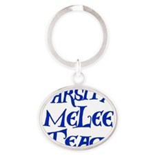 melee-team-t-back3-blue Oval Keychain