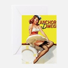 anchors aweigh yellow mousepad Greeting Card