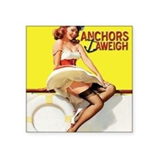 "anchors aweigh yellow mouse Square Sticker 3"" x 3"""