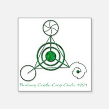 "Barbury Castle Crop Circle Square Sticker 3"" x 3"""