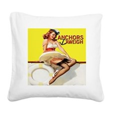 anchors aweigh yellow pillow Square Canvas Pillow