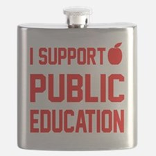 I Support Public Education red letters red a Flask
