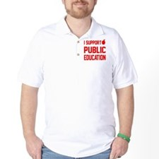 I Support Public Education red letters  T-Shirt