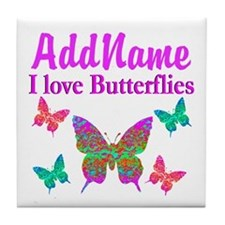 LOVE BUTTERFLIES Tile Coaster