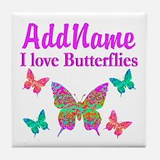 LOVE BUTTERFLIES Tile Coaster