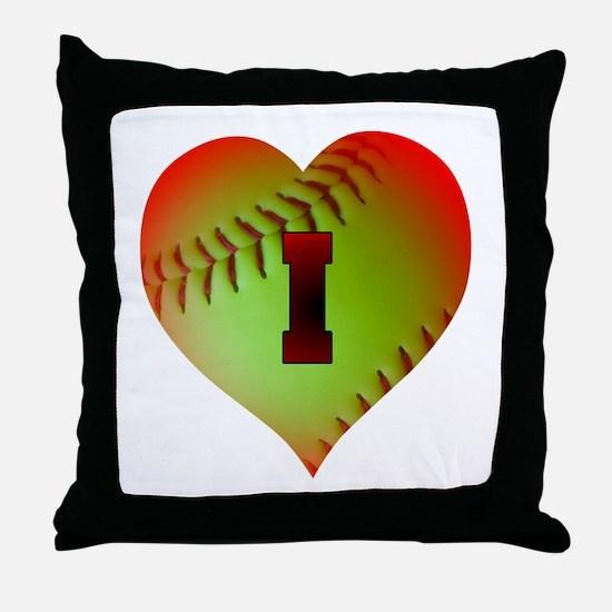 Optic Yellow I Love Softball Throw Pillow