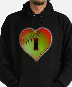 Optic Yellow I Love Softball Hoodie (dark)