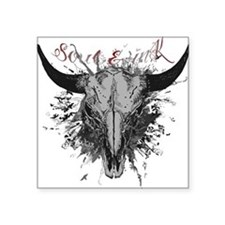 "soul ink bull skull Square Sticker 3"" x 3"""