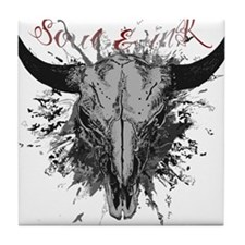 soul ink bull skull Tile Coaster