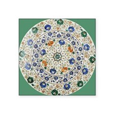 "Pietra_dura_Plate_Taj_Mahal Square Sticker 3"" x 3"""