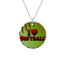 Optic Yellow I Love Softball Necklace