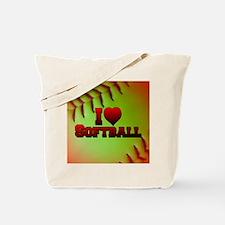 Optic Yellow I Love Softball Tote Bag