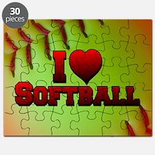 Optic Yellow I Love Softball Puzzle