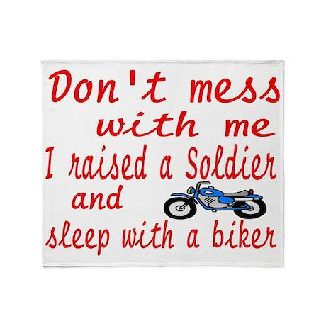 dont mess biker Throw Blanket