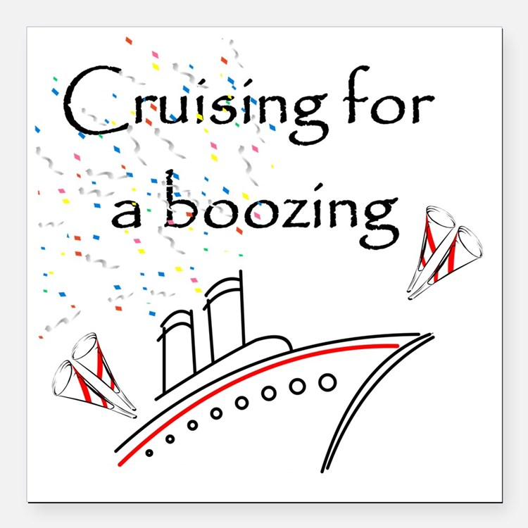 "Cruising4aBoozing Square Car Magnet 3"" x 3"""