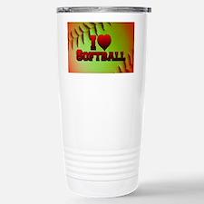 Optic Yellow I Love Softball Travel Mug