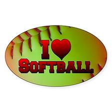 Optic Yellow I Love Softball Decal